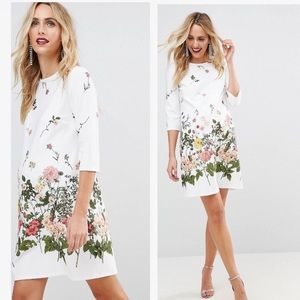 ASOS maternity white floral shift dress